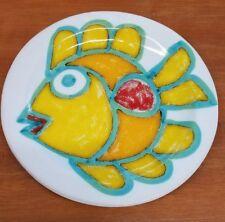 "DESIMONE 8"" Pottery Plate -Yellow Funky Fish- ITALY - MID CENTURY - 1964"