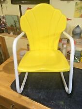 Child's Metal Rocking Chair 1950's Shell Back Yellow Vtg Retro Lawn Furniture