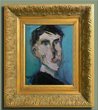 JOSE TRUJILLO FRAMED Modern Oil Painting SIGNED EXPRESSIONISM Portrait Man COA