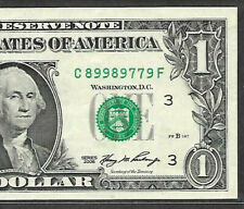 Fancy Serial Number 2006 $1 SUPER REPEATER C 89989779 F TRINARY FOUR NINES