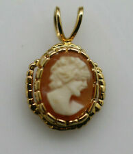 Vintage small gold tone carved shell geniune cameo lady pendant