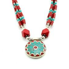 Pendant necklace Tibetan green turquoise red quartz gemstone beaded handmade 61g
