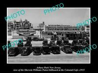 OLD LARGE HISTORIC PHOTO OF ASBURY PARK NJ SHERWIN WILLIAMS PAINT BILLBOARD 1935