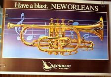 """REPUBLIC AIRLINES POSTER TRAVEL """"New Orleans"""" SIGNED HANSON 1980 ORIG DELTA"""