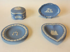WEDGWOOD Blue Jasperware 4 Piece Set Kidney Box Heart Trinket Dish Tray & Plate