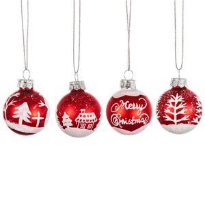 Sass & Belle Retro Red White Bauble Hanging Decoration Christmas Tree Xmas Set 4