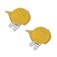 2x Stainless Steel Cap Design Golf Hat Clip Magnetic with Ball Marker Yellow