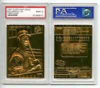 1989 KEN GRIFFEY JR FLEER 23K GOLD SCULPTURED ROOKIE '97 CARD - MINT PSA 9