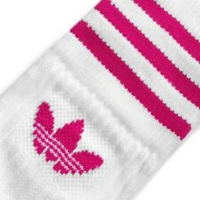 Womens Adidas Originals Solid Crew Socks White Pink One Size 6-11