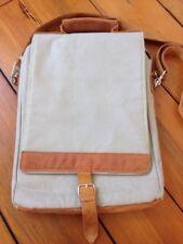 Wend Africa Leather Duck Canvas Messenger Map Case Laptop Bag Handmade Purse