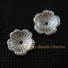 60 New Charms Acrylic Plastic Flower Star Spacer End Bead Caps White 14mm