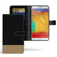 Tasche für Samsung Galaxy Note 3 Neo Jeans Cover Handy Schutz Hülle Case Schwarz
