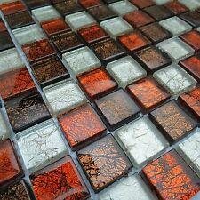Leeds Red Brown Polished Glass Mosaic Tile Sheets Bathroom Kitchen Wall Mosaics