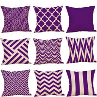 Decorative Pillow Case Purple Geometric Fall Autumn Cushion Cover PYLE UK