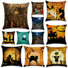 "18""x18"" Halloween Pumpkin Witch Cushions Linen Pillow Case Cover Sofa Home Decor"