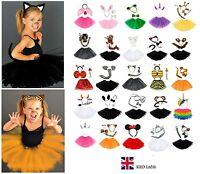 Kids ANIMAL FANCY DRESS TUTU COSTUME Party Accessory Girls EARS BOW TAIL SET UK