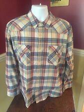 BIG MAC Yellow  PLAID Work Wear WESTERN Pearl Snaps MEN'S Shirt XL 2-27