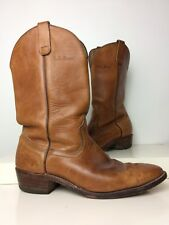 Vintage L.L. BEAN Men's Brown Leather Cowboy Boot Size 11.5 B Made In USA