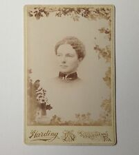 Antique Photo Cabinet Card Susquehanna PA Harding Woman with Stickpin Collar