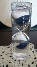 Blue Sand Egg Timer 3 Min Kitchen Counter Water Gravity Hour Blown Glass