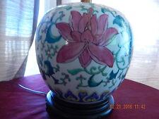 VINTAGE Family Rose Porcelain Bowl /Jar Enameled with wooden base LAMP 19th C.