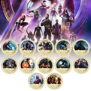 12pcs The Avengers Super Hero Coin Gold Plated Challenge Coin for Child Gifts