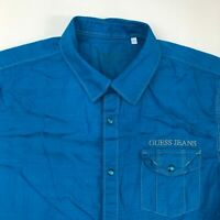 Guess Button Up Shirt Mens L Blue Short Sleeve Snap Closure Point Collar Casual