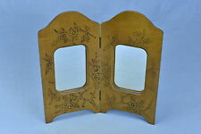 Antique FLEMISH ART PYROGRAPHY VANITY SHAVING MIRROR FOLDING DOGWOOD DESIGN OLD