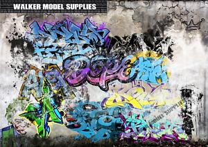 1:24 Echelle (3xA4) Garage Graffiti Mural - Retirer Et Appliquer Sticker / 91