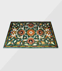 "48"" x 36"" green marble Table Top inlaid semi precious stones art work"