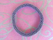 Metallic Lavender Permanent Galvanized Seed Bead Bracelet, Crocheted, Nepal JP30