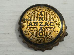 Vintage Used Cork Lined The ANZAC Company Boston Mass Soda Bottle Cap