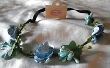 ROSE FLOWER HEAD BAND HAIR DRESS BLUE WEDDING BRIDAL*HIPPIE BOHEMIAN