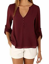 Nergivep Womens Summer Chiffon T Shirt Long Sleeve Tops Loose Plus Size Blouse