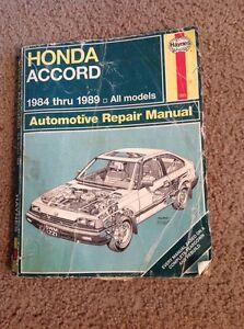 Haynes Repair Manual - Honda Accord 1984 - 1989 All Models - # 1221