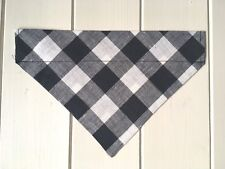 "Handmade Black 1"" Gingham Over Collar Dog Bandana - various sizes available"