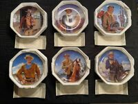John Wayne Franklin Mint Heirloom 6 Plate Collection Complete Western Series COA