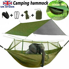 More details for 2 person camping hammock with mosquito net + outdoor waterproof tent tarp mat uk