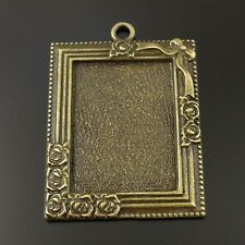 8X Vintage Style Bronze Tone Rectangle Rose Photoframe Pendant Settings 30*22mm