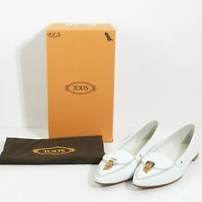 GORGEOUS TOD'S ITALY IVORY LEATHER CAMEL BUCKLE DRIVING BALLET FLATS SIZE US 11