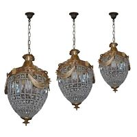 3 French Empire Brass Bronze Basket Cage Crystal Chandeliers Lighting Lamp Work