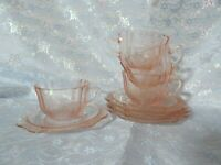 Federal Glass Company MADRID Recollection Pink SET OF 4 Cups and Saucers