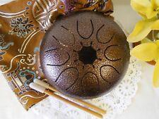 WuYou 7in Steel Drum Tongue Drum UFO handpan Chakra Drum w/ bag, sticks,Bronze C