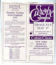 Royal Mail Steam Packet Co. Steamship Araguaya Cabin Class Brochure 1928