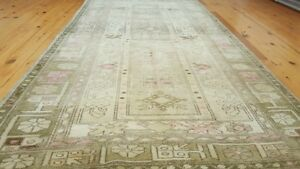 Decorative Hand-Knotted,Antique1900-1939s Muted Dyes 4x7ft Wool Pile Ushak Rug