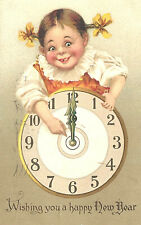 Vintage Postcard- Happy New Year, young girl pointing to midnight on clock