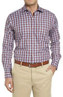 NWT Mens Peter Millar Blue/Maroon/Wht Checked Plaid Button Down Shirt Sz Small