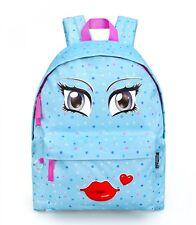 Girls Retro Backpack Rucksack School College Travel Work Bag Faces KISS BLUE