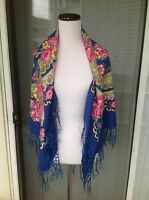 Russian Original Floral LARGE Black/Blue/Red Shawl Scarf viscose with fringe