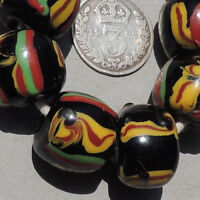 6 old antique venetian roundl fancy beads african trade #1656